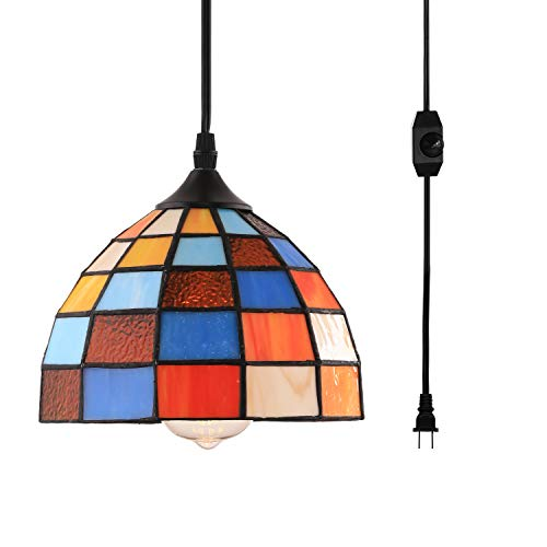 HMVPL Tiffany Style Pendent Ceiling Light with 16.4 Ft Plug in Cord and On/Off Dimmer Switch, Retro Multicolored Swag Hanging Lamp for Kitchen Island, Dining Room or Living Room (8.1