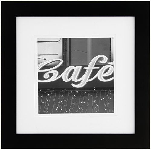 Logo Double Photo Frame - Gallery Solutions 12x12 Black Wall Picture Frame with Double White Mat for 8x8 Image