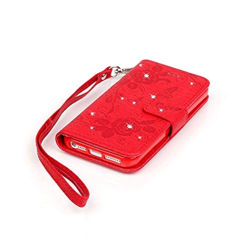 Voguecase® für Apple iPhone 5 5G 5S hülle, Kunstleder Tasche PU Schutzhülle Tasche Leder Brieftasche Hülle Case Cover (Diamant/Schmetterling liebt Blumen IV/Rot) + Gratis Universal Eingabestift