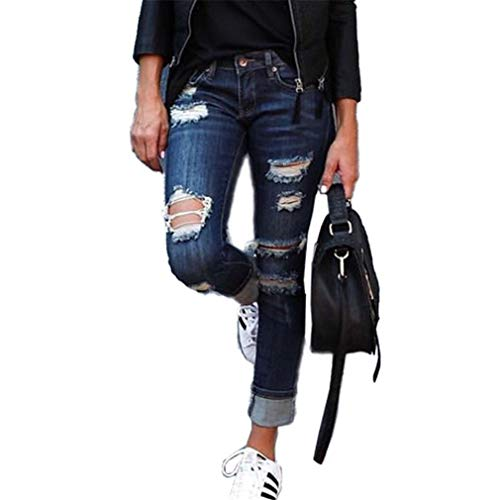 Juqilu Femme Rtro Jeans Dchirs Trous  Taille Haute en Denim Pantalons Skinny Slim Crayon Pantalon Extensible Slim Leggings Boyfriend S-2XL 1#