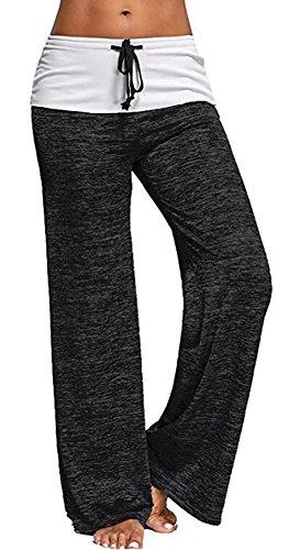 Smile fish Women Lounge Pants Drawstring Wide Leg Yoga Palazzo Casual Pants(Black,S)