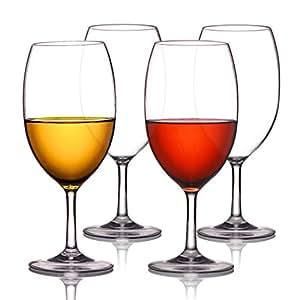 MICHLEY Unbreakable Wine Glasses, 100% Tritan Plastic Shatterproof Wine Glasses, BPA-free, Dishwasher-safe 18.5 oz, Set of 4