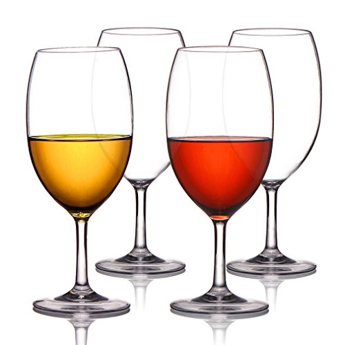 MICHLEY Unbreakable Wine Glasses, 100% Tritan Plastic Shatterproof Wine Glasses, BPA-free, Dishwasher-safe 20 oz, Set of 4