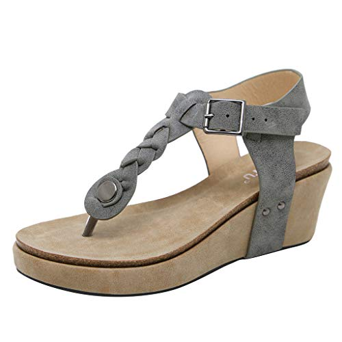 Gamma Shell Pants - JUSTWIN Ladies' Toe Wedge Sandals Women's Casual Flip Flops Buckle Strap Platforms Shoes Grey