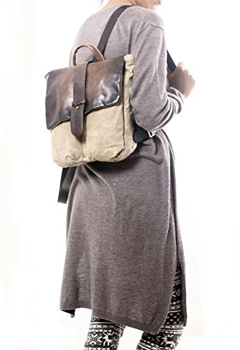 Handmade Stylish Waterproof Beige Canvas and Brown Leather Backpack, Unisex Gift for Traveler