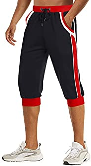 TACVASEN Men's 3/4 Joggers Capri Pants Breathable Mesh Running Shorts with Poc