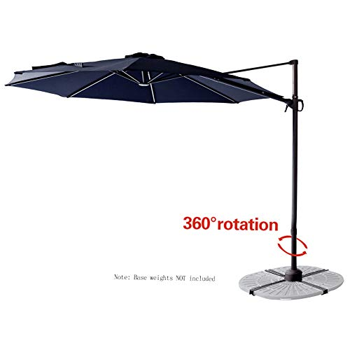 C-Hopetree 10 Offset Cantilever Hanging Market Style Patio Umbrella with Tilt for Large Outside Balcony Outdoor Garden Pool Deck Navy Blue