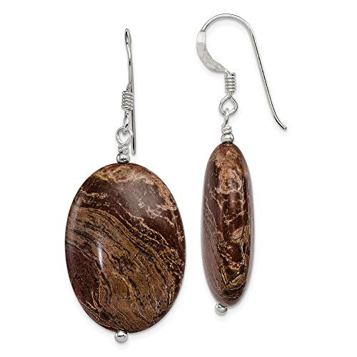 - 925 Sterling Silver Brown Jasper Drop Dangle Chandelier Earrings Fine Jewelry Gifts For Women For Her