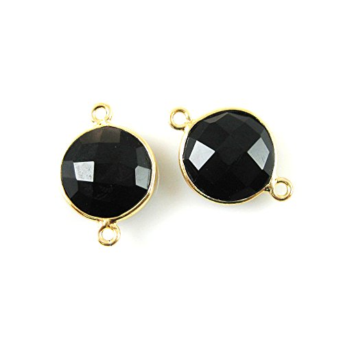 Gemstone Connector - Vermeil - 12mm Faceted Coin Shape - Black Onyx (Sold Per 2 Pieces) Onyx Vermeil Ring