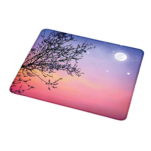 (Rectangle Mouse pad Night,Dreamlike Ethereal Sky with Moon Stars and Blooming Spring Tree Branches,Blue Light Pink Black,Waterproof Material Non-Slip Personalized Rectangle Mouse pad 9.8