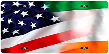 BleuReign TM Mixed USA and Ireland Flag Car Vehicle License Plate Auto Tag