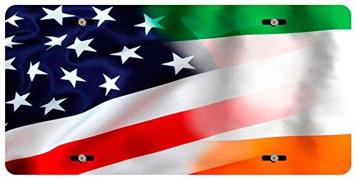 - BleuReign(TM) Mixed USA and Ireland Flag Car Vehicle License Plate Auto Tag