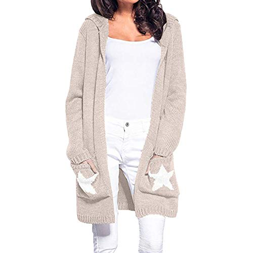 Fheaven (TM) Womens Long Sleeve Sweaters Cardigan Hooded Patchwork Open Front Knit Sweater Outwear with Star Pockets (XL, Khaki) by Fheaven (TM)