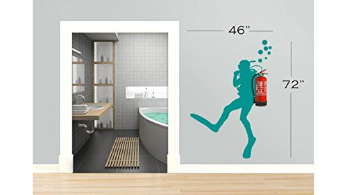 Scuba Diver decals, Scuba Diver Decal, scuba stickers, Scuba Diving decal, swimming decal, bathroom decals, beach house decals, fire extinguisher decal Tr1556 (46\