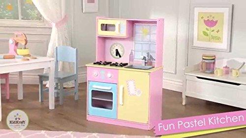 Kidkraft Fun Pastel Girls Pretend Play Kitchen Set Playset, Pink, Yellow, Blue