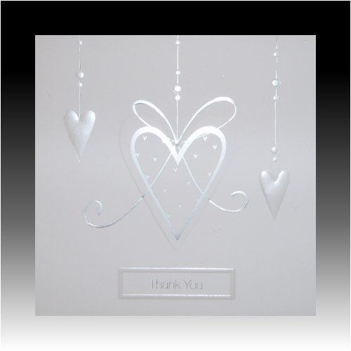 Luxury White Wedding Gift Thank You Cards with Pearlised Hearts by Wedding Stationery