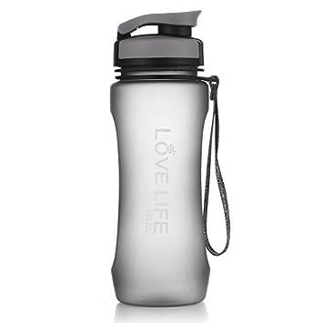 Uno es todo nuevo plástico deportes botella de agua libre de BPA Tritan Botella de agua Material ecológico con cuerda escalada vaso, gris: Amazon.es: ...