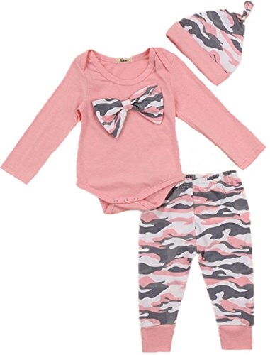Abeibei Baby Girl Clothes Set New Born Toddler Girl Long Sleeve Romper Camouflage Pant Hat 3 Pieces Outfit Set, Pink, 0-6 Months/Tag 70