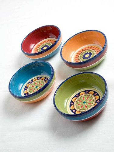 BRANDANI OFFICIAL IRONSTONE 4 PCS FRUIT SALAD BOWL SET CERAMIC MEXICO RUSTIC LINE 57142 ()