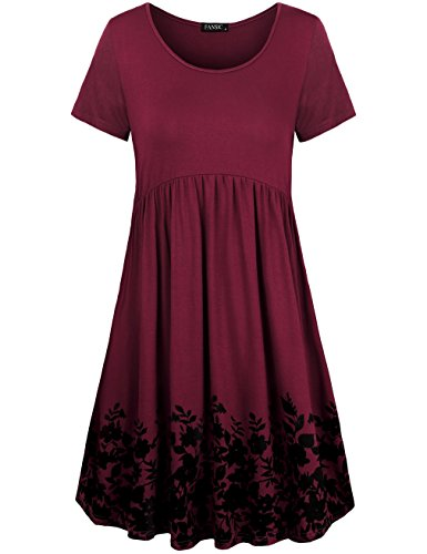 FANSIC Dressy Tops,Womens Round Neck Floral Short Sleeve Midi Dresses, Large, wine Red