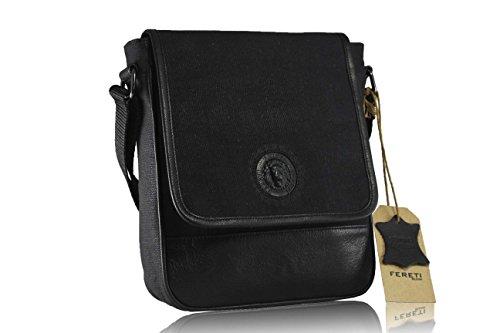 en para piel de bolso 3D hombre autentica bandolera león FERETI® combinado con con tela negro Epq0vxWa