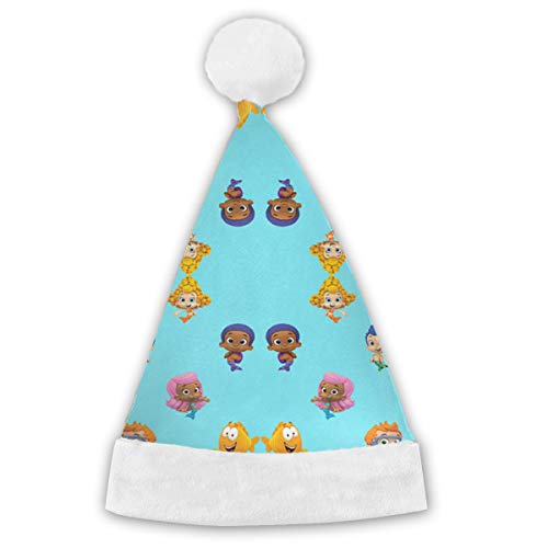 HDISJHK Child and Adult Bubble_Guppies Holiday Christmas Santa Hats with White Polyester -