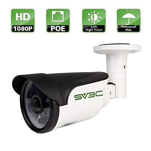 SV3C Full HD 1080P Bullet Outdoor Security Camera Poe IP Camera,1920X1080 Resolution,20Meter Night Vision,IP66 Waterproof,Support Remote Viewed by Iphone,Andriod Phone,Pad and Windows PC (Outdoor Security Camera 1080p)
