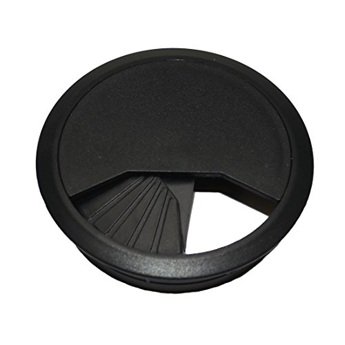TCH Hardware 5 Pack Desk Cable Grommet 3 1/8'' Black Plastic - Office Computer Table Wire Cover by TCH (Image #2)