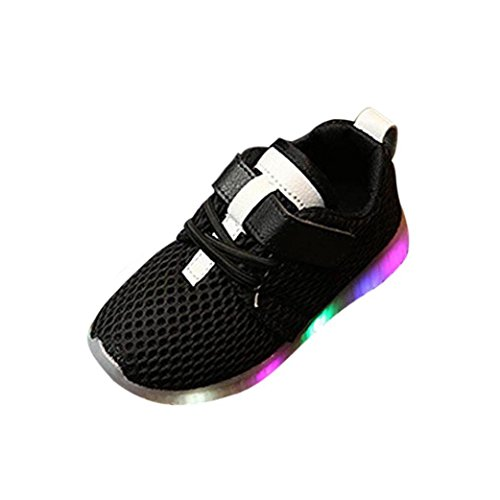 Sunbona Toddler Baby Boy's Girl's LED Light Up Mesh Light Weight Breathable Sports Running Sneakers Shoes (4M US Toddler, Black)