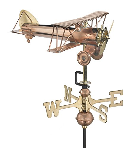 Good Directions Biplane Weathervane with Garden Pole, Pure Copper, Airplane Weathervanes, Aviation ()