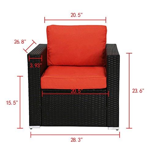Kinbor New 4 PCs Rattan Patio Outdoor Furniture Set Garden Lawn Sofa Sectional Set Black (Orange-4PCs)