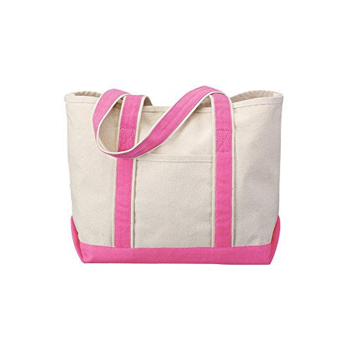 Canvas Tote Beach Bag - Medium Sized Bag to Carry Beach Gear. Large Open Main Compartment With Hook-and-Loop Closure and Shoulder Straps for Easy Carrying. (Pink)