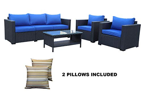 Garden 4 Seater (4-Piece Outdoor Wicker Rattan Sofa-Patio Garden Sectional Conversation Couch Cushioned Seat Furniture Set)