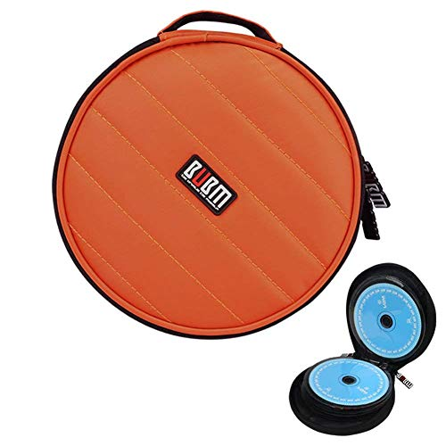 CD/DVD Portable Carry Wallet BUBM 32 CD Disc Capacity Waterproof Storage Case Compact and Easy to Store for Car Home and Travel Orange