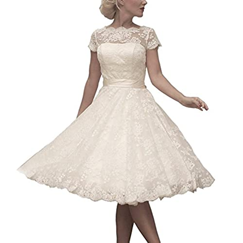 ABaowedding Womens Floral Lace Knee Length Short Wedding Dress Bridal Gown Size 16 Ivory