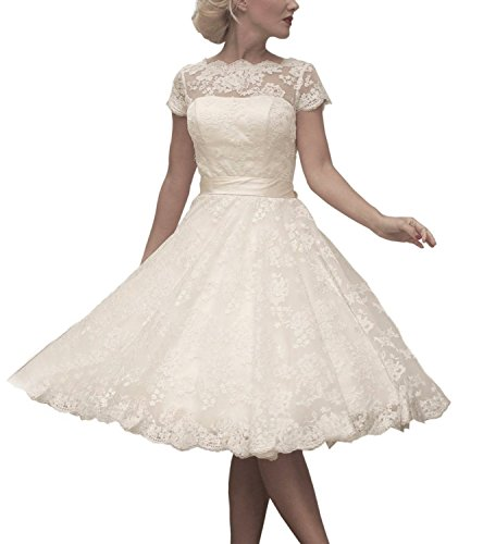 AbaoWedding Women's Floral Lace Knee-length Short Wedding Dress Bridal Gown