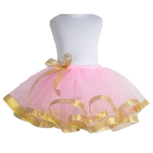 CJ Fashion Girls Layered Tutu Skirt Pink Fluffy Short Tutus for Toddler/Teenage Girl (J&l Dance Costumes)