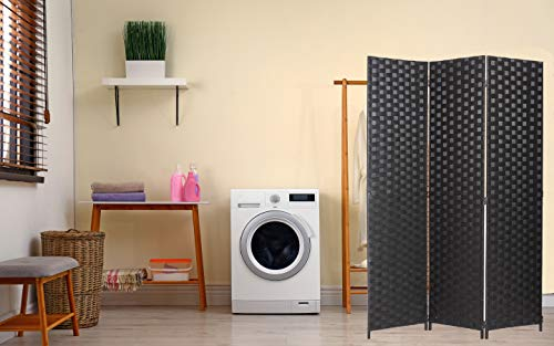 Legacy Decor Room Divider 3 Panel Weave Design Fiber Black Color