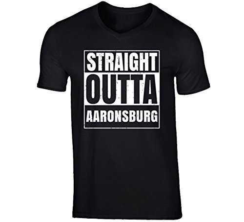 Straight Outta Aaronsburg Pennsylvania City Father's Day Vneck T Shirt 2XL Black