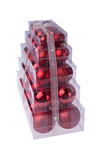 80mm 40 Pack Country Silk No Model Christmas Red Shatterproof Orbs and Ornaments Cake Box