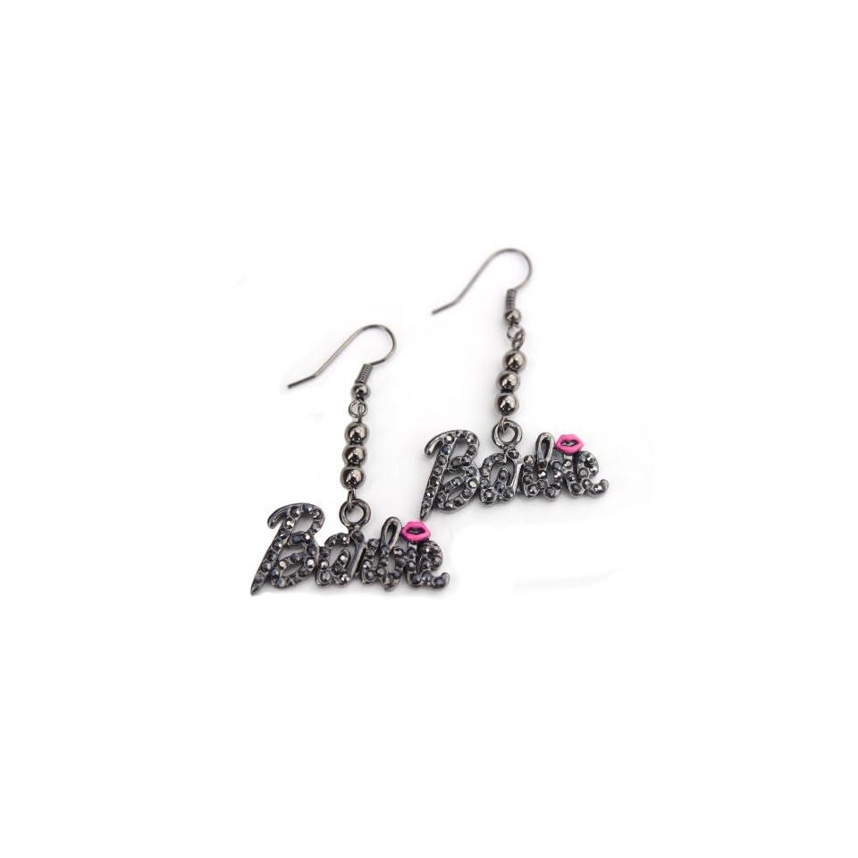 Black Ice Nicki Minaj Barbie French Hook Earrings with Pink Kiss