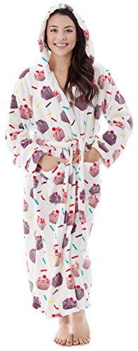 Teen Luxurious Classic Flannel Long Sleeve Hooded Velour Robe Cupcakes (Cupcake Flannel)