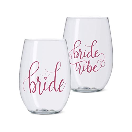 11 Piece Set of Pink Bride Tribe Durable Plastic Stemless Wine Glasses for Bachelorette Parties, Weddings and Bridal Showers -