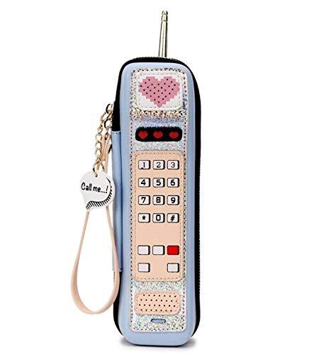 Casual téléphone Femme Pnizun de Imprimer Sac Bleu Mini Cartoon en bourse de sac main Personnalité à Rétro Femme Party cuir mode d'embrayage PU design de qwcZECUw