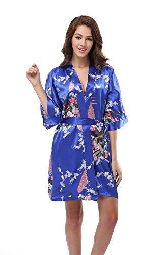 (Luvrobes Women's Satin Kimono Robe, Peacock Design, Short (L, Sapphire))