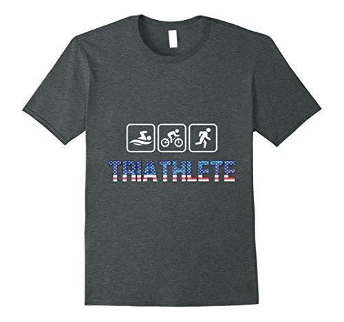 Mens Swim Bike Run USA flag Triathlete Triathlon Tri t shirt fun  XL Dark - Triathlon Shirts T Usa