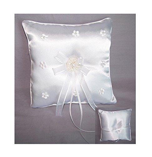Ring Bearer Pillows Faux Pearls Wedding Embellished & Embroidered (RPillow1 (Embroidered Ring Bearer Pillow)