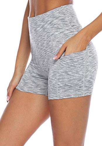 AUU Womens Casual Wear Workout Yoga Short Pants Active Shorts with Pocket (Grey&White,XXL)