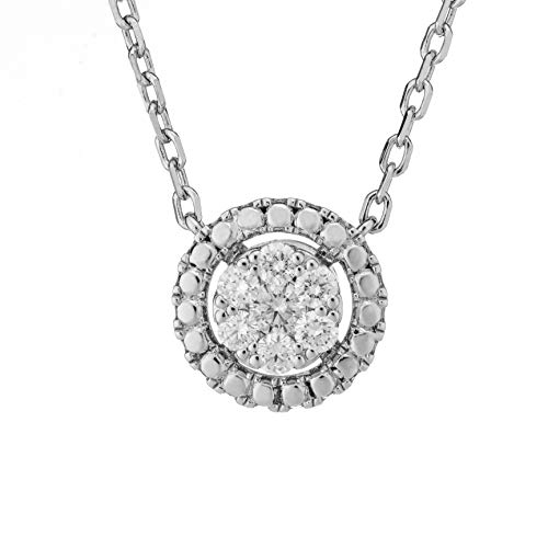 Ethical Cut Round Shape Pavé Cluster Lab Diamond Necklace, 0.25cts, Sterling Silver