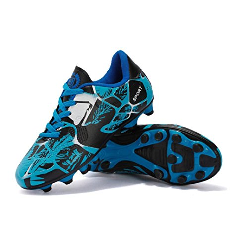WSK Soccer shoes children's sports shoes new spikes football shoes men's training game special summer lace football shoes, blue, 33